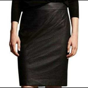 Banana Republic Faux Leather Perforated Skirt